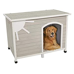 MidWest Homes for Pets Eillo Folding Outdoor Wood Dog House, No Tools Required for Assembly | Dog House Ideal for Large Dog Breeds, Beige (12EWDH-L)