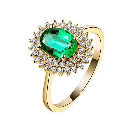 AnazoZ Anillo Mujer Verde Esmeralda,Anillos de Boda de Oro Amarillo 18K Oro Verde Flor con Esmeralda Verde 1.16ct Diamante 0.3ct Talla 13,5