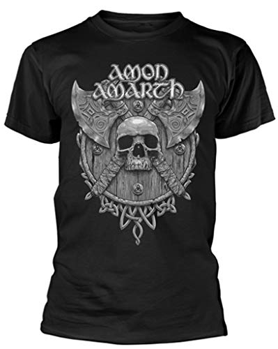 Amon Amarth 'Grey Skull' (Black) T-Shirt (Large)