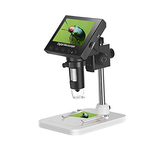 4.3 inch LCD Digital Microscope1000X Magnification USB Microscope Magnifierwith8 Adjustable LED Light, Micro-SD Storage,Rechargeable Lithium Battery, Camera Video Recorderfor Lab, Edu, Naturalist