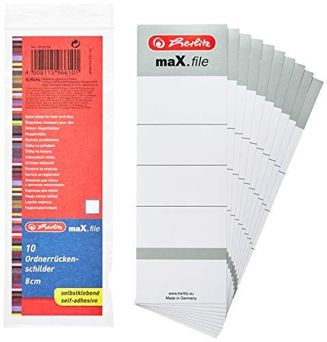 Herlitz 5966106 Rückenschild 60 x 190 mm für 8 cm-Ordner, selbstklebend, 10 Stück, weiß