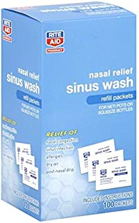 Rite Aid Sinus Wash Refill, Individually Wrapped Saline Packets - 100 Count | Sinus Rinse Refill for Neti Pots | Nasal Rel...