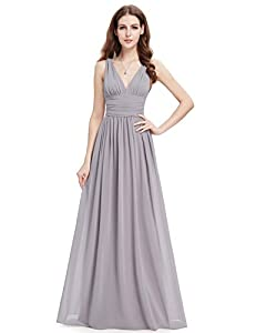 """Sheer chiffon fabric in outside layer and fully lined in polyester Sexy plunging """"V"""" shaped neckline in both front and back, with a Lace camisole inside Under bust area is ruched to place emphasis on curves Perfect for wedding parties, evening partie..."""