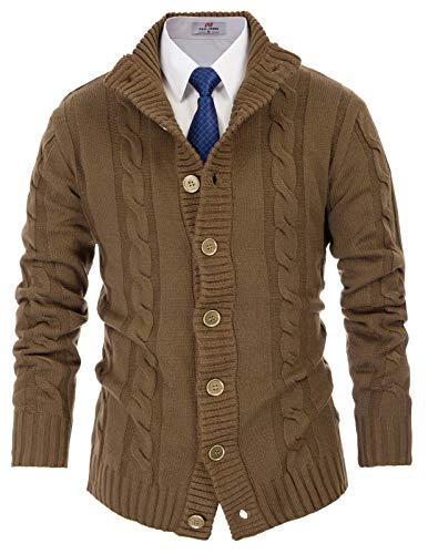 PJ PAUL JONES Mens Button Down Cardigan Sweater Stand Collar Cable Knit Sweaters Coyote L