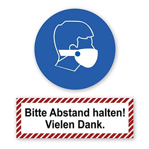 Mundschutz/Bitte Abstand halten Aufkleber mit UV Schutz Gebotszeichen Warnzeichen für Außen-und Innenbereich