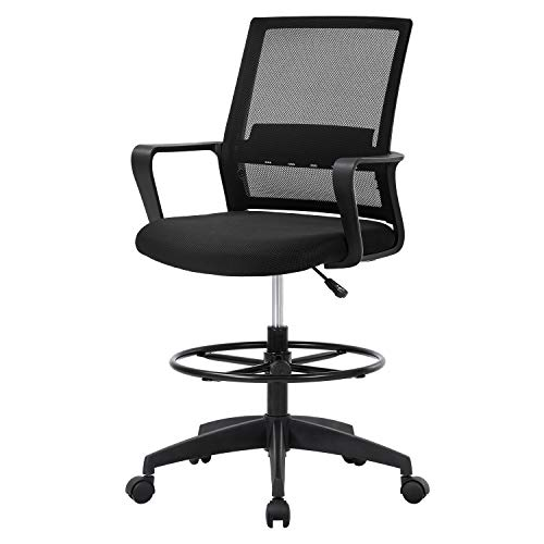 Drafting Chair Tall Office Chair Mesh Ergonomic Mid-Back Desk Chair with Adjustable Foot Ring for Executive Computer Standing Desk, Black