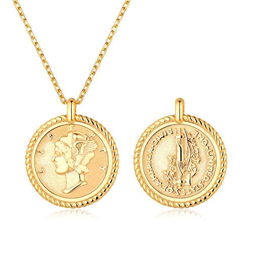 ChicSilver Moneda Memorial Plata de Ley 925 Chapado en Platino y Oro 18K Collar para Hombres y Mujeres con Cadena Extensible Colgantes Medallas Redondas Joyería Moderna