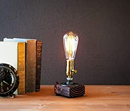 Industrial Steampunk table pipe lamp with Classic Edison bulb and Red Mahogany wood base