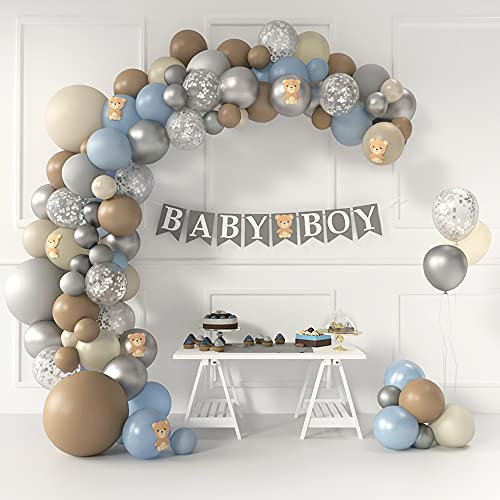 Teddy Bear Baby Shower Decorations and Balloon Garland