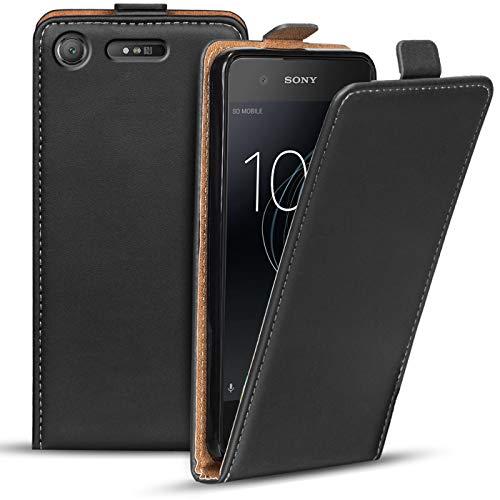 Verco Flip Cover für Sony Xperia XZ1 Hülle, Flipstyle Schutzhülle für Sony XZ1 Hülle Kunstleder Tasche vertikal klappbare Handyhülle, Schwarz