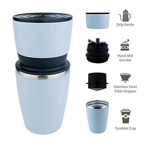 Kohi - All in One, Ultra Portable Manual Coffee Grinder and Portable Coffee Brewer with Vacuum Sealed Tumbler Cup (Blue)