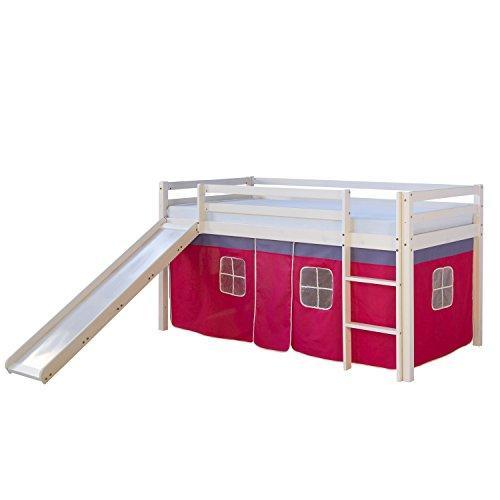 Homestyle4u 540, lit loft pour Enfants avec Toboggan, échelle, Rideau Rose, Bois de pin Massif Blanc, 90x200 cm