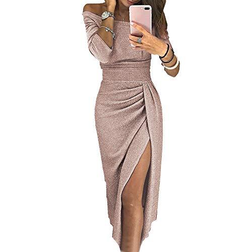 OrientalPort Elegant Schulterfreies Kleid Damen Pailletten Bodycon Cocktailkleid Partykleid Sexy Seitensplit Abendkleid Maxikleid, Champagner, S