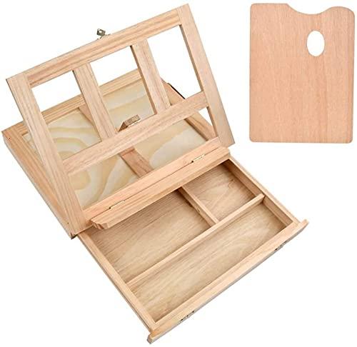 hsj LF- Box Cavalletto per artisti, strumento da tavolo in legno con cassetto e tavolozza, ideale per schizzi, disegni e pittura portatili con una varietà di mezzi espositivi