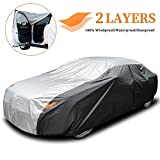 XicBoom Car Cover Sedan Cover, 210T Waterproof All Weather Outdoor, 2 Layers Full Cover, Sun Rain Snow UV Protection with Zipper, Fit Sedan-Length (190' to 209' )