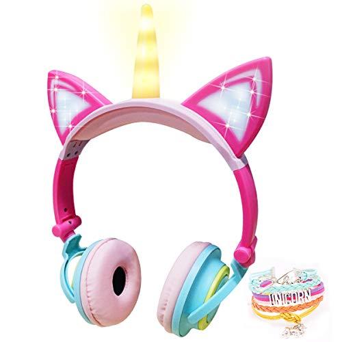 JYPS Unicorn Headphone Cat Kids Foldable Headphones Wired Headset Earphone for Kids Girls, Back to School Supplies Gifts