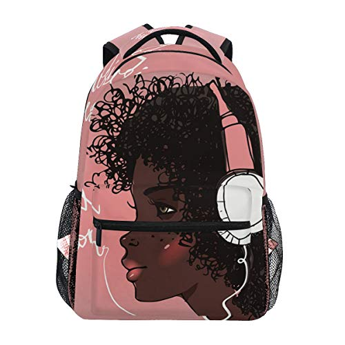 Niña africana con auriculares Mochilas de viaje portátil mochila escolar bolsas para adolescentes hombres mujeres