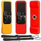 [2 Unidades] Funda Protectora Antideslizante Compatible con Apple TV 4K 4ta 5ª generación Siri mandos a Distancia - Pinowu Silicona a Prueba de Golpes Cubierta para TV 4 4K Remoto (Rojo + Naranja)