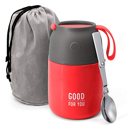 Vakuumisolierte Lebensmittelbehälter – Edelstahl Lebensmittel Thermos, Suppenschüssel, Mittagessen Behälter 530 ml kirschrot
