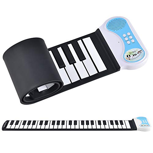 [in.tec] Rollpiano E-Piano - mit 49 Tasten Keyboard Kinder Klavier Rollbar Silikon Roll Up Piano