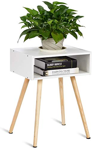 RELAX4LIFE Nachttisch mit Stauraum, Nachtkommode aus Holz, Nachtschrank 4 Füße, Beistelltisch für Schlafzimmer und Wohnzimmer, Flurtisch mit Ablageflache, Telefontisch Sofatisch weiß, 40 x 30 x 54 cm