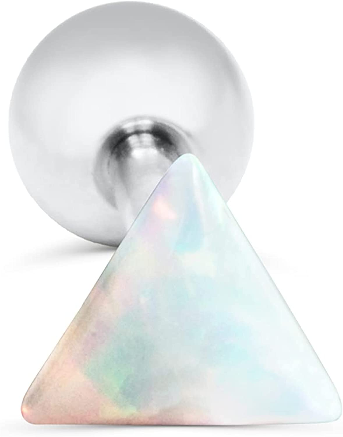 16g Lucky Cartilage Helix Simulated Dainty Opal Ball Ear Stud Earring Barbell Piercing