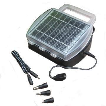 Solar Battery & USB Charger, Charges 4 AA, AAA, C or D cells with USB port & other power supply plugs