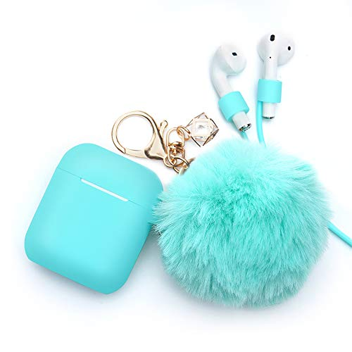 Airpods Case - BlUEWIND Drop Proof Air Pods Protective Case Cover Silicone Skin, Cute Fur Ball Airpods Keychain/Strap, Apple Airpods Accessories, Best Gift for Girls and Women, Mint Green