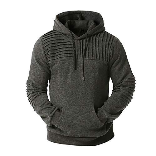 SLYZ Otoño E Invierno Nuevos Deportes Y Ocio para Hombres Suéter con Capucha Suéter Tamaño Europeo Suelta Chaqueta De Color Sólido De Gran Tamaño