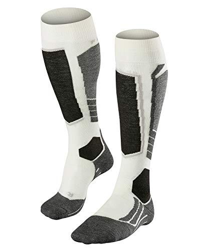 FALKE Damen Skisocken SK2 - Merinowollmischung, 1 Paar, Weiß (Off-White 2040), Größe: 37-38