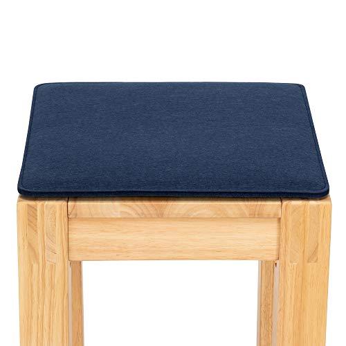 FILU Sitzkissen aus Filz 2er-Pack Dunkelblau eckig (Farbe und Form wählbar) 35 x 35 cm – Sitzkissen für drinnen und draußen, Deko für jeden Stuhl im Wohnzimmer oder Esszimmer, Gartenstuhl/Balkonstuhl