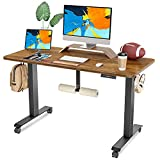 FAMISKY Standing Desk Dual Motors, Adjustable Height Electric Stand up Desk with Footrest, 48 x 24 Inches Sit Stand Home Office Desk, Ergonomic Workstation Black Steel Frame/Rustic Brown Wood Top