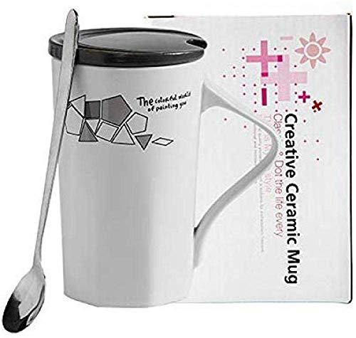 TIN-YAEN Milch-Tee-Kaffeetasse-Geschenke Tee Kaffeetasse Tasse Geschenk Büroschale paar Becher mit Deckel Löffel Polygon 350ml
