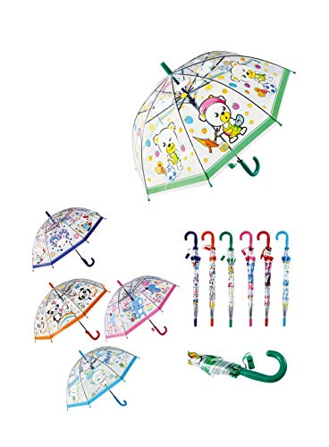 Paraguas automático Infantil Transparente con Silbato, Paraguas Infantil para niñas y niños Resistente Antiviento (Verde)