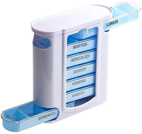 Pastillero semanal a torre (italiano) con 7pastillero diarios de bolsillo a 4compartimentos–Ayuda para personas mayores–Medicine, pastillas, píldoras