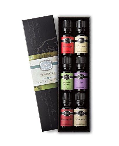 Favorites Set of 6 Premium Grade Fragrance Oils - Strawberry, Lilac, Cucumber Melon, Coconut, Gardenia, Honeysuckle - 10ml