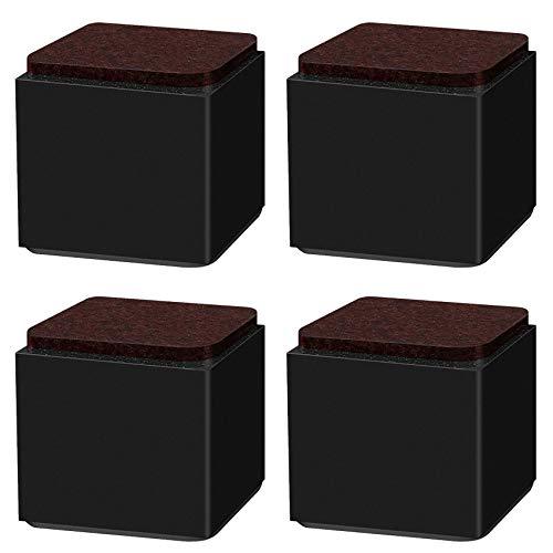 4 Stück Möbelerhöhung aus Karbonstahl,Quadrat 6x6cm,selbstklebende Möbelerhöhung,fügt 5cm/10cm Höhe zu Betten,für Sofas Schränken,Unterstützt 20.000 lbs,Schwarz/Weiß/Braun(black5cm)