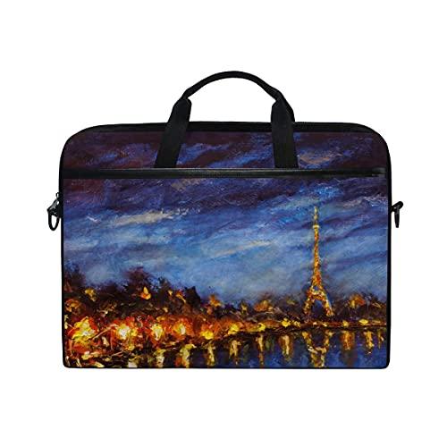 Bolsa Para Portátil Art Painting Paris Eiffel Tower Notebook Computer Bag Para Correa De Hombro Ajustable