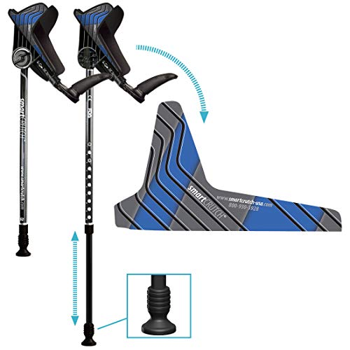 smartCRUTCH Racer Series Forearm Crutch 15-90 Degree Rotation - 2 Ergonomic Walking Aids, Adjustable 4'4-6'7 Adult Athlete Elderly Injury/Disability, Mobility Support - Small, Blue