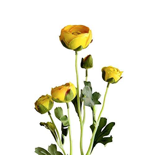 Jia HU 1pièce Tête de fleurs artificielles Pivoine de 5 Pivoine arrangements plantes d'intérieur Décoration extérieure jaune