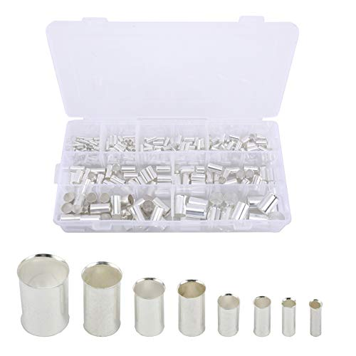 AuInn 300 PCS (AWG 12 10 8 6 4 2 1/0 2/0) Wire Ferrule Silver Plated Copper Crimp Connector Cable Pin Cord End Terminal Kit (8 Sizes)