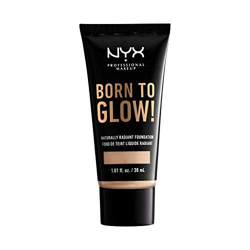 NYX Professional Makeup Base de Maquillaje Born to Glow Radiant Foundation, Acabado Radiante, Cobertura Media Modulable, Fórmula Vegana, Tono: Alabaster