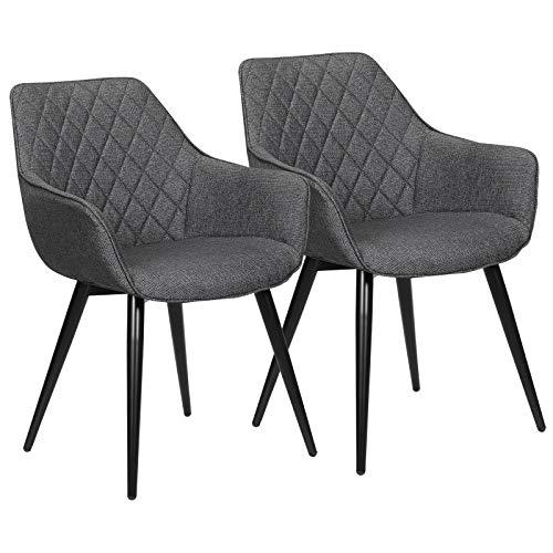 WOLTU Esszimmerstühle BH152dgr-2 2er Set Küchenstühle Wohnzimmerstuhl Polsterstuhl Design Stuhl mit Armlehne Leinen Gestell aus Stahl Dunkelgrau