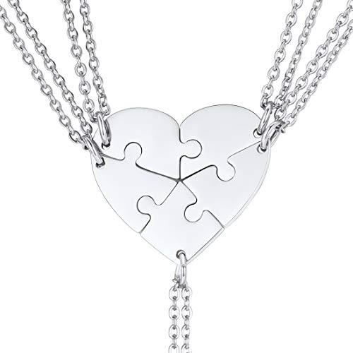 U7 Joyería para Mujeres Collares Corazón Puzzle Conjuntos de 5 Unidades de Acero Inoxidable Hermana Collares con patrón de corazón Regalo de Cumpleaños