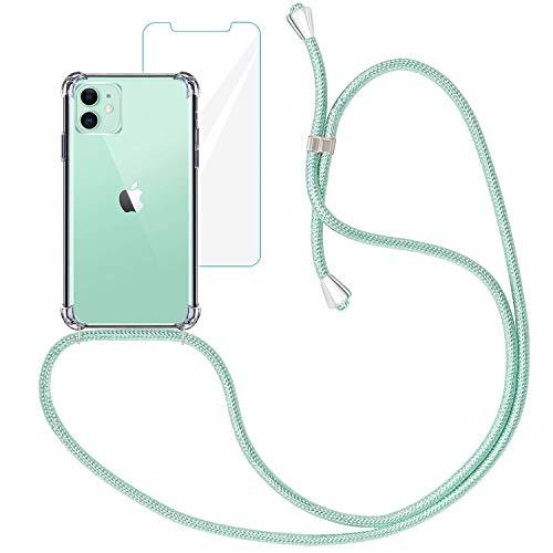 Yohii Funda con Cuerda para iPhone 11 + Protector Pantalla de Cristal Templado, Carcasa Transparente TPU Suave Silicon Colgante Ajustable Collar, Case para iPhone 11 - Verde