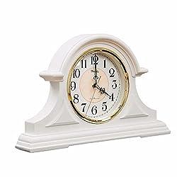 Mantel Clock, Retro Mantle Clock, 12-Inch Silent Mantel Clock, Vintage Table Clock, Quartz Movement, Suitable for Living Room and Bedroom Mantel (White)