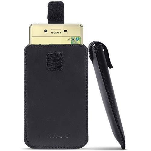 UC-Express Leder Tasche für Sony Xperia Smartphone Handy Hülle Cover Pull Tab Ledertasche, Farbe:Schwarz, Smartphone:Sony Xperia L1