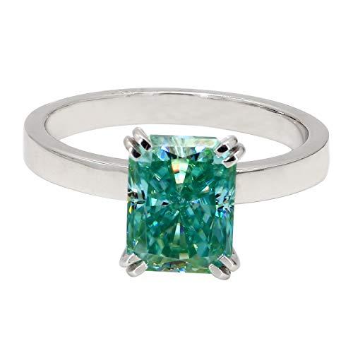 Diamondrensu Anillo de compromiso solitario de 1,81 quilates, anillo de diamante de moissanita verde radiante de 1,81 quilates, anillo de boda de doble punta, regalo de aniversario, plata 925