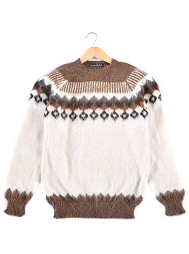 Gamboa - Warm und Weich Alpaka Rundhalspullover für Herren - Weiß Natürlich mit Brown und Grey Geometric Design, Weiß, M