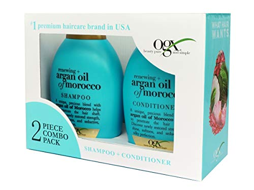 OGX Renewing + Argan Oil of Morocco 2Pc Combo Kit Shampoo+Conditioner, Cold-Pressed Argan Oil to Help Moisturize, Soften & Strengthen Hair, Paraben-Free with Sulfate-Free Surfactants, 770 ml